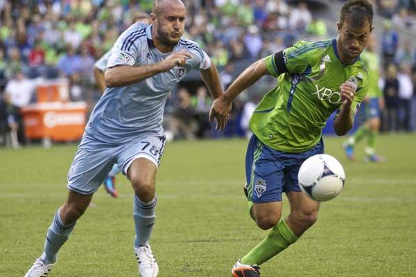 Seattle Sounders defender Patrick Ianni.  Credit: Stephen Brashear - ISIPhotos.com
