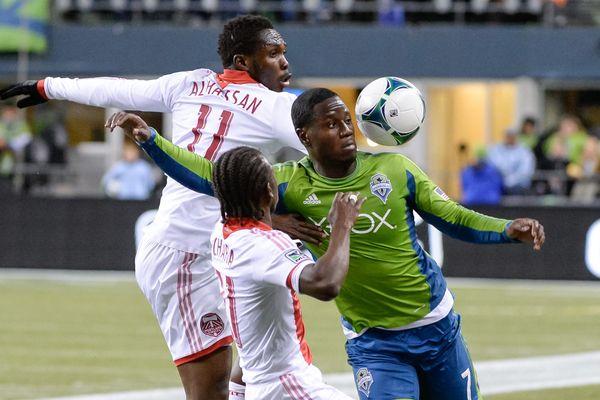Seattle's Eddie Johnson operates against Portland in the 2013 playoffs. Credit: Joshua Weisberg - ISIPhotos.com