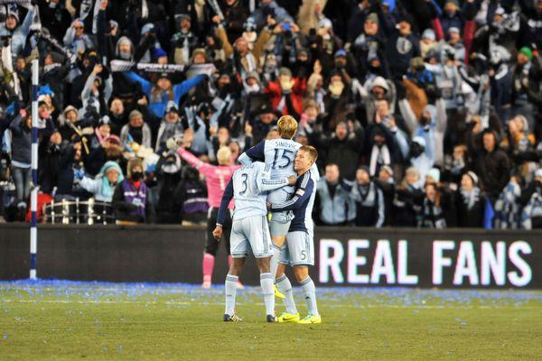 Sporting Kansas City celebrates winning the 2013 Eastern Conference final. Credit: Bill Barrett- ISIPhotos.com