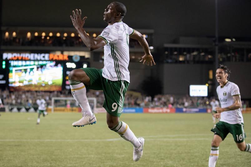 Fanendo Adi goal celebration with Portland