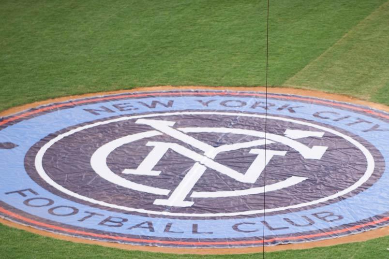 NYCFC logo on Yankee Stadium field