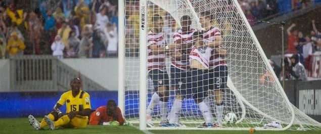 The United States celebrates after scoring against Antigua & Barbuda in Tampa on June 8th, 2012.  Credit: John Dorton - ISIPhotos.com